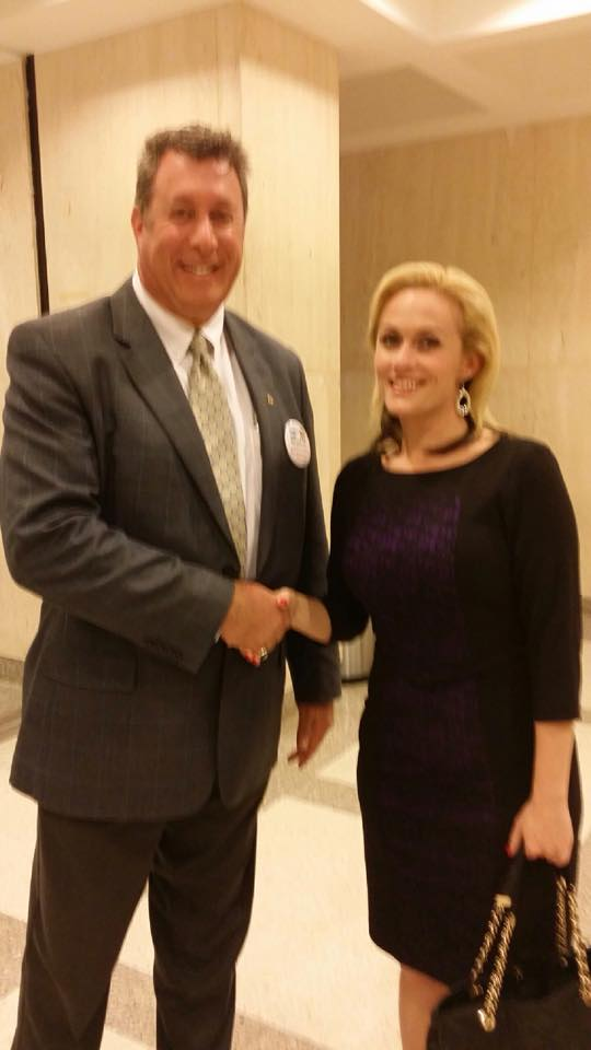 Alan Frisher with Rep Katie Edwards who supports alimony reform